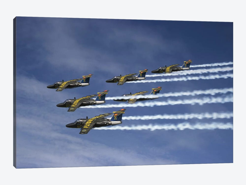 Saab 105 Jet Trainers Of The Swedish Air Force Display Team, Team 60 II by Daniel Karlsson 1-piece Art Print