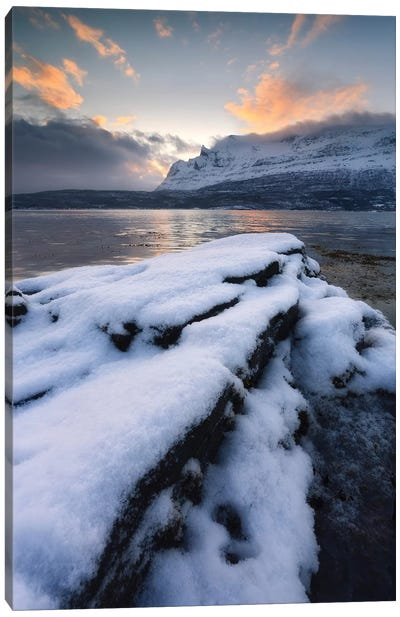 A Cold Morning In Grovfjorden, Troms County, Norway Canvas Art Print