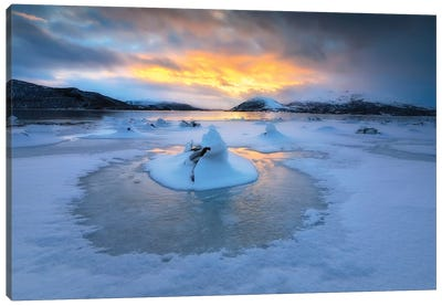 A Frozen Fjord That Is Part Of Tjeldsundet In Troms County, Norway Canvas Art Print