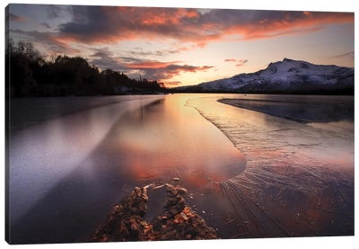 A Frozen Straumen Lake On Tjeldoya Island In Nordland County, Norway Canvas Art Print