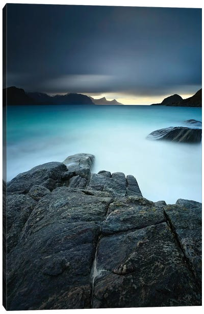 A Long Exposure Scene At Haukland Beach In Lofoten, Norway Canvas Art Print