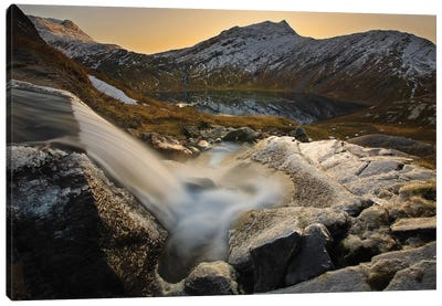 A Small Creek Running Through Skittendalen Valley In Troms County, Norway Canvas Art Print