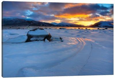 A Winter Sunset Over Tjeldsundet At Evenskjer, Troms County, Norway Canvas Art Print