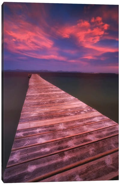 Alcudia Beach Pier In Mallorca, Spain Canvas Art Print