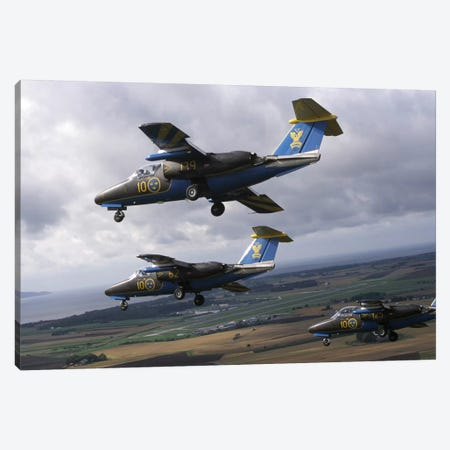 Saab 105 Jet Trainers Of The Swedish Air Force Display Team, Team 60 III Canvas Print #TRK224} by Daniel Karlsson Canvas Art