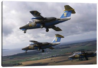 Saab 105 Jet Trainers Of The Swedish Air Force Display Team, Team 60 III Canvas Art Print