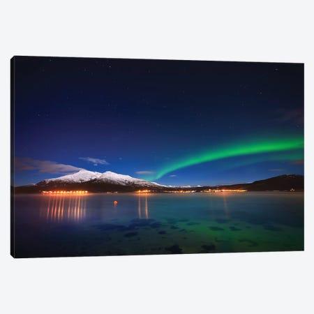 Aurora Over Tjeldsundet And Saetertinden Mountain In Norway 3-Piece Canvas #TRK2250} by Arild Heitmann Canvas Print