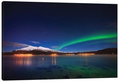 Aurora Over Tjeldsundet And Saetertinden Mountain In Norway Canvas Art Print
