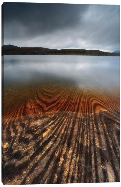 Geology Lines In Sandvannet Lake, Nordland County, Norway Canvas Art Print