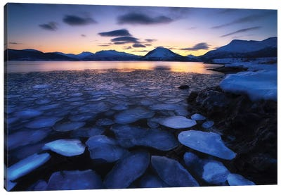 Ice Flakes Drifting Against The Sunset In Tjeldsundet Strait, Troms County, Norway Canvas Art Print