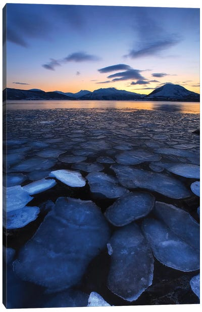 Ice Flakes Drifting Towards The Mountains On Tjeldoya Island, Norway Canvas Art Print