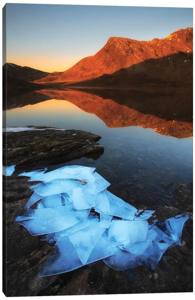 Ice Flakes In The Shadows Of Skittendalen Valley In Troms County, Norway Canvas Art Print