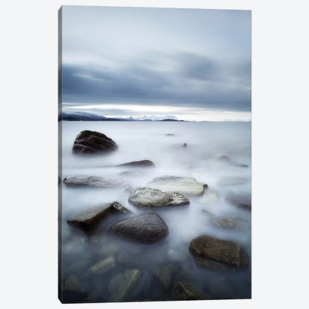 Long Exposure Scene Of Rocks In Vaagsfjorden Fjord, Norway 3-Piece Canvas #TRK2257} by Arild Heitmann Canvas Art