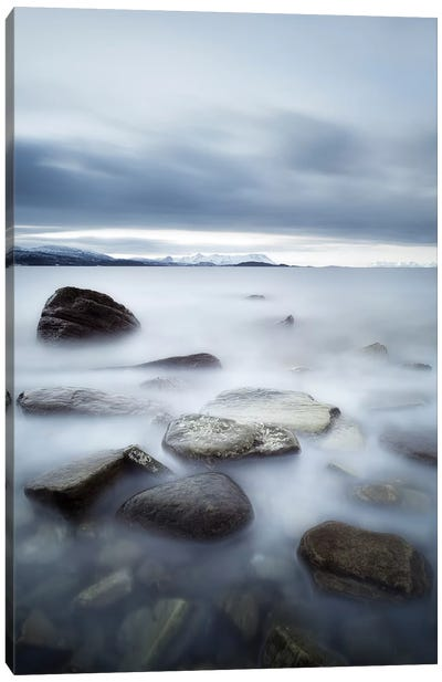 Long Exposure Scene Of Rocks In Vaagsfjorden Fjord, Norway Canvas Art Print