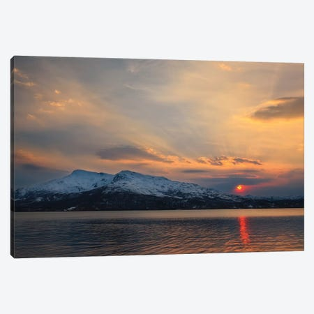 Midnight Sun Over Tjeldsundet Strait In Troms County, Norway Canvas Print #TRK2258} by Arild Heitmann Art Print