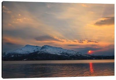 Midnight Sun Over Tjeldsundet Strait In Troms County, Norway Canvas Art Print