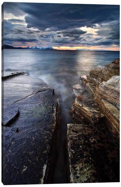 Midnight Sun Over Vagsfjorden In Troms County, Norway Canvas Art Print