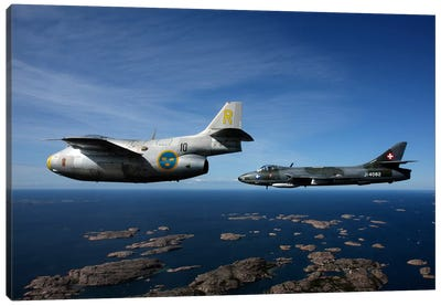 Saab J 29 And Hawker Hunter Vintage Jet Fighters Of The Swedish Air Force Canvas Art Print