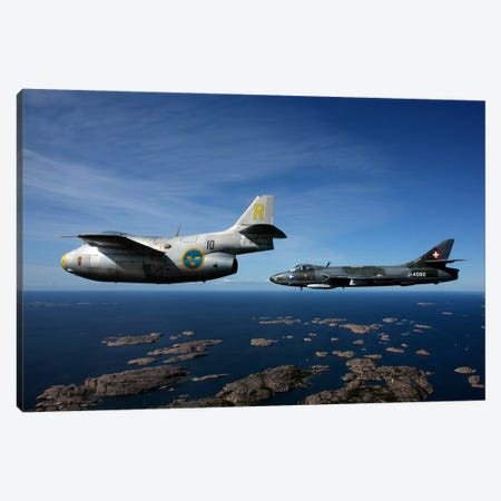 Saab J 29 And Hawker Hunter Vintage Jet Fighters Of The Swedish Air Force Canvas Print #TRK225} by Daniel Karlsson Canvas Art