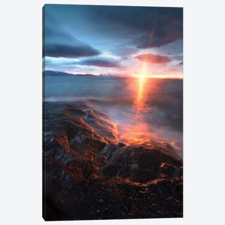Midnight Sun Over Vagsfjorden, Skanland, Troms County, Norway Canvas Print #TRK2260} by Arild Heitmann Canvas Wall Art