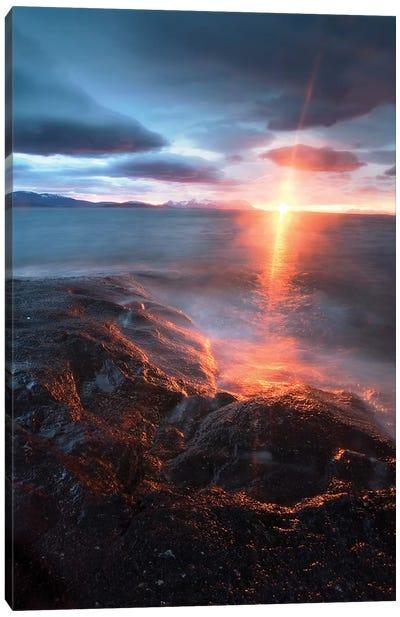 Midnight Sun Over Vagsfjorden, Skanland, Troms County, Norway Canvas Art Print