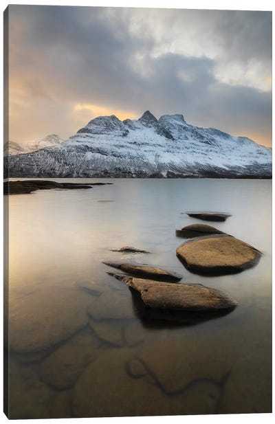 Novatinden Mountain And Skoddeberg Lake In Troms County, Norway Canvas Art Print
