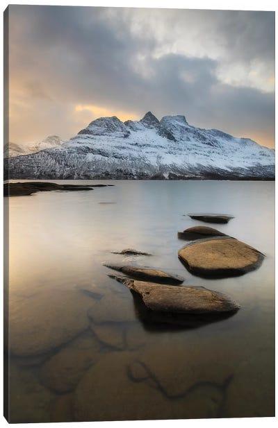 Novatinden Mountain And Skoddeberg Lake In Troms County, Norway Canvas Art Print