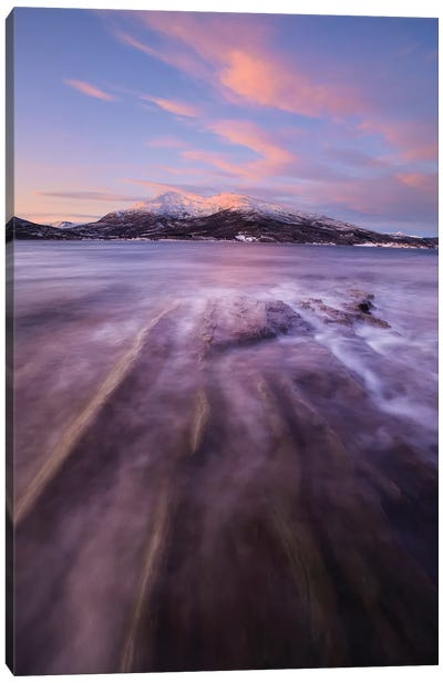 Sunrise Over Tjeldsundet In Troms County, Norway Canvas Art Print