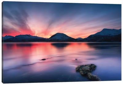 Sunset Over Tjeldsundet, Troms County, Norway I Canvas Art Print