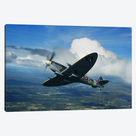 Supermarine Spitfire Mk.XVI Fighter Warbird Of The Royal Air Force Canvas Print #TRK226} by Daniel Karlsson Canvas Wall Art