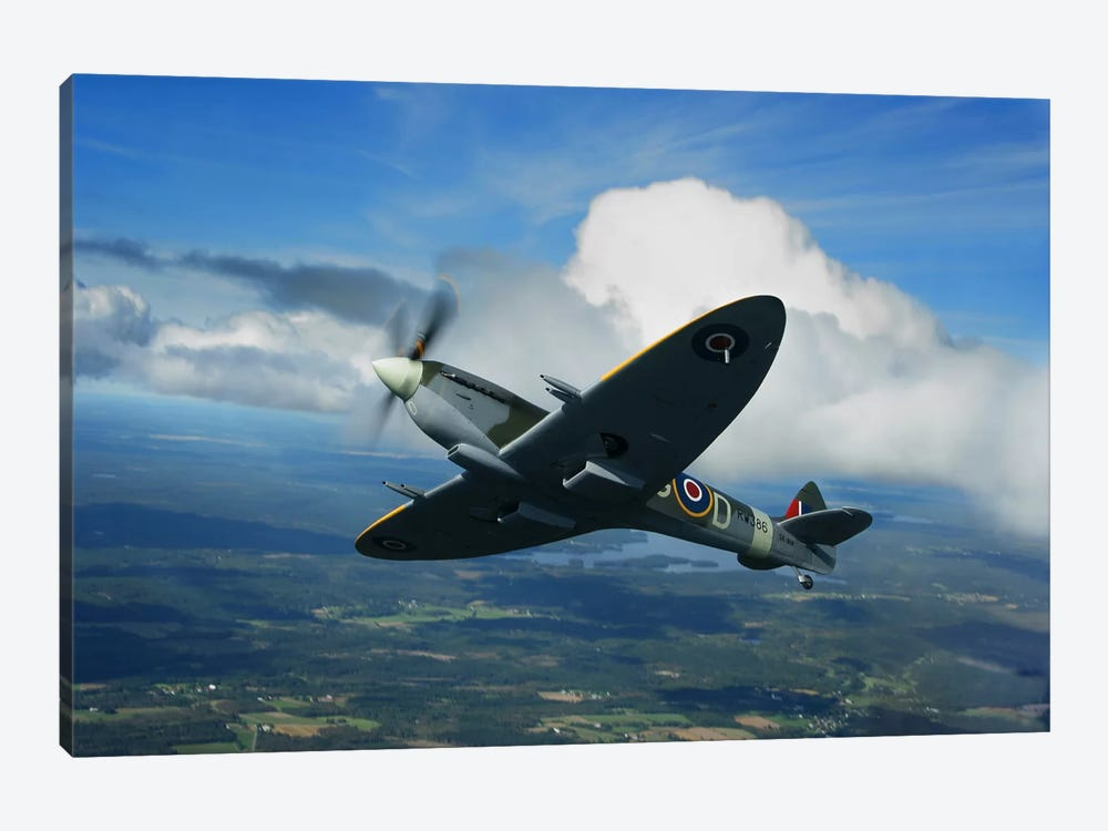 Supermarine Spitfire Mk.XVI Fighter Warbird Of The Royal Air Force by Daniel Karlsson 1-piece Canvas Artwork