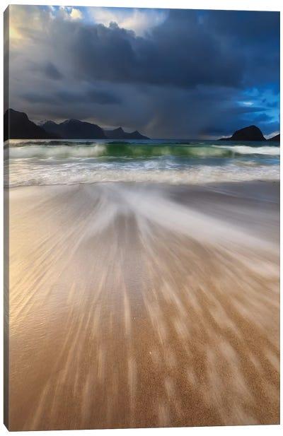 Waves Washing Back To Sea On Haukland Beach, Lofoten, Norway Canvas Art Print