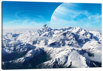 A Gas Giant Rises In The Distance Over A Massive Slumbering Volcano Canvas Art Print