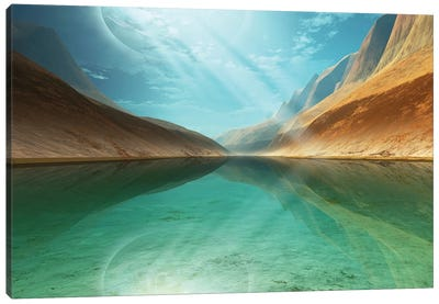 A Beautiful River Reflects Light Rays Coming Down From The Sky Canvas Art Print