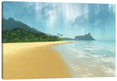 A Beautiful Tropical Island With Palm Trees Canvas Art Print
