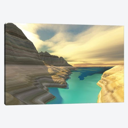 A Blue Shadow Falls Across The Turquoise River Waters Of This Canyon Canvas Print #TRK2276} by Corey Ford Canvas Art