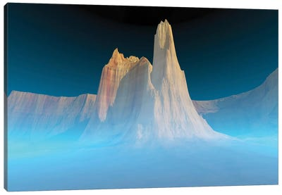 A Canyon Mountain Is Surrounded By Mysterious Blue Mist Canvas Art Print