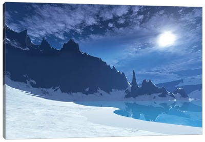 A Cold Winter Night On This Beach Has A Full Moon Canvas Art Print