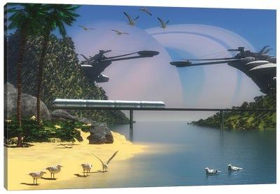 A Futuristic, Tropical Paradise Colony On Enceladus, One Of Saturn'S Moons Canvas Art Print