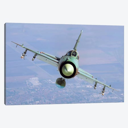 A Bulgarian Air Force MiG-21bis Armed With R-60 Missiles Canvas Print #TRK227} by Daniele Faccioli Canvas Wall Art