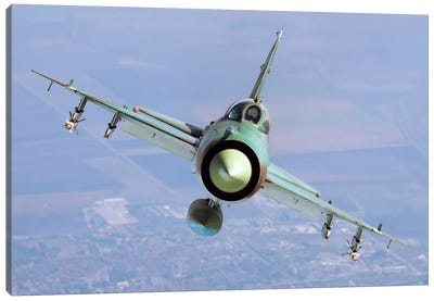 A Bulgarian Air Force MiG-21bis Armed With R-60 Missiles Canvas Art Print