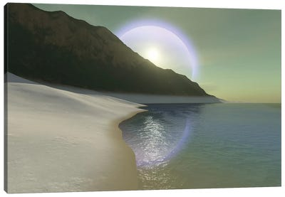 A Halo Surrouds The Sun Over This White Sand Beach Canvas Art Print