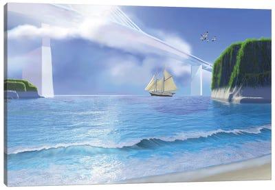 A Ketch Sails Underneath A Very High Modern Bridge Canvas Art Print