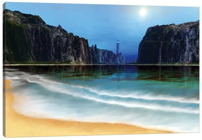 A Lighthouse Guards This Beautiful Cove Canvas Art Print