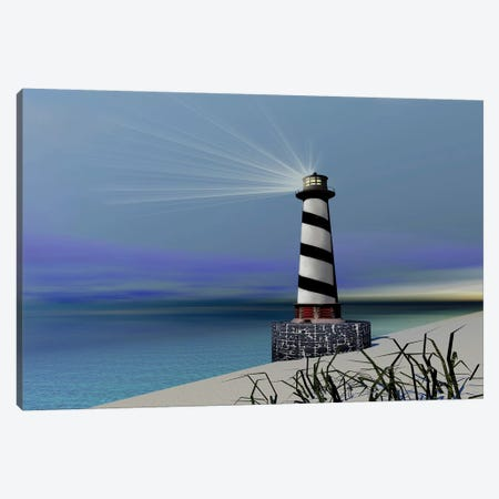 A Lighthouse Sends Out A Light To Warn Vessels Canvas Print #TRK2285} by Corey Ford Canvas Print