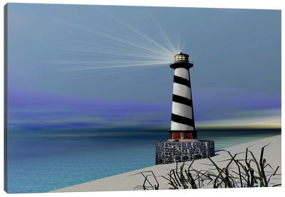 A Lighthouse Sends Out A Light To Warn Vessels Canvas Art Print