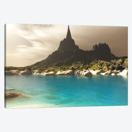 A Mountain Spire Overlooking The Turquoise Waters Of A Sea Inlet Canvas Print #TRK2287} by Corey Ford Canvas Print