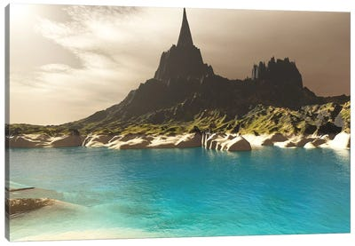 A Mountain Spire Overlooking The Turquoise Waters Of A Sea Inlet Canvas Art Print