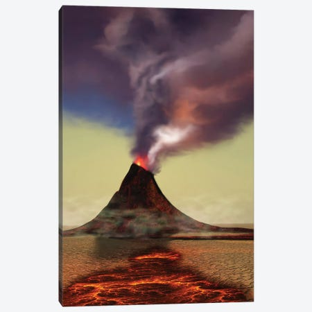 A Newly Formed Volcano Smokes With Hot Steam Canvas Print #TRK2288} by Corey Ford Canvas Art