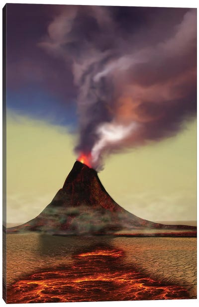 A Newly Formed Volcano Smokes With Hot Steam Canvas Art Print